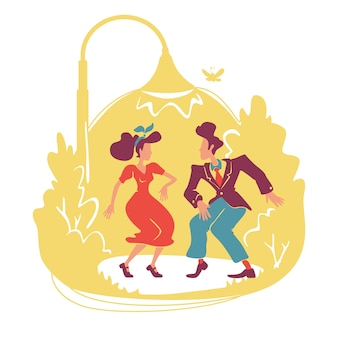 Banner web retrò festa d'estate, poster. discoteca all'aperto in stile anni '40. giovani coppie che ballano jive sotto i caratteri dell'iluminazione pubblica sul fondo del fumetto. patch stampabili, elementi web colorati
