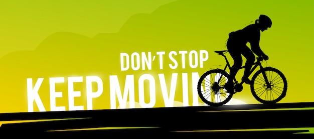 Banner web sportivo. concetto motivazionale. silhouette donna motociclista.