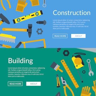 Banner web strumenti di costruzione piatta