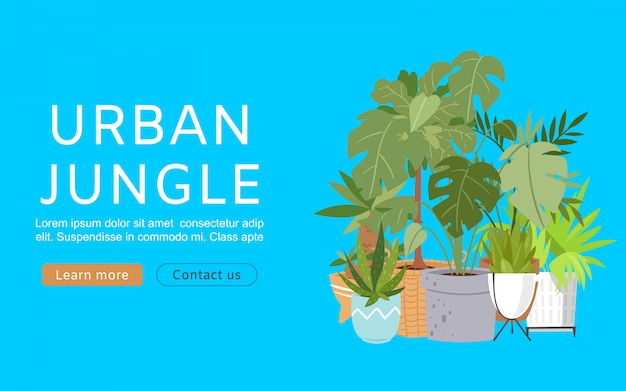 Banner web urban jungle. illustrazione con decorazioni per la casa alla moda, piante tropicali in vaso. piante d'appartamento, foglie di banana e palma esotiche, giungle urbane.