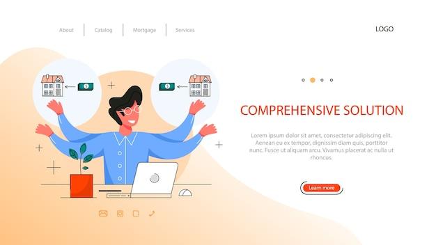 Banner web vantaggio immobiliare. idea di soluzione completa e contratto di lavoro sicuro, mutuo e noleggio. agente immobiliare qualificato o concetto di mediatore.