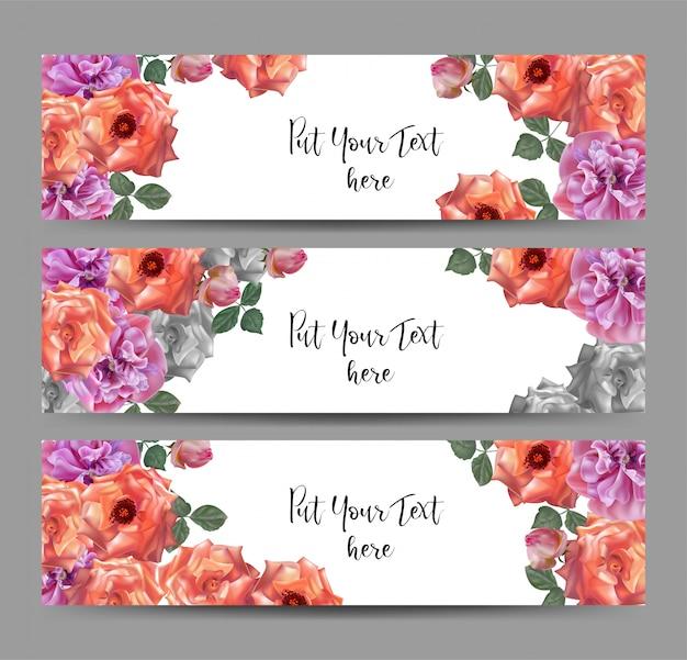 Banner web vettoriale con rose e fiori di papavero