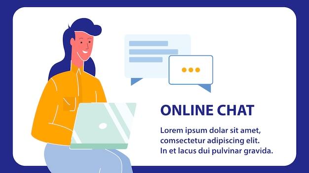 Banner web vettoriale di chat online con spazio testo