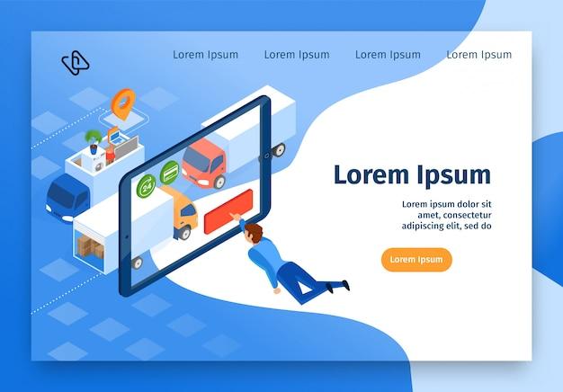 Banner web vettoriale di servizi online di società in movimento