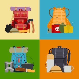 Banner zaino turistico da campeggio, carta. illustrazione di accessori da viaggio. zaini da trekking in stile classico con sacchi a pelo. accampati e fai escursioni in borse e zaini colorati.