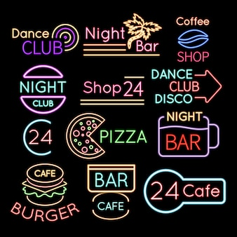 Bar, insegne al neon del caffè del club di ballo isolate