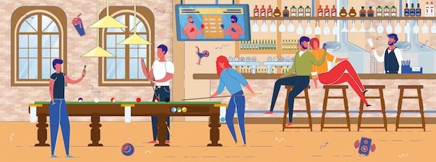 Bar o pub alcolici con biliardo interno piscina.