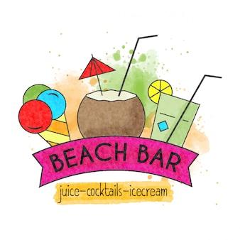 Bar sulla spiaggia banner estate acquerello