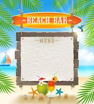 Bar sulla spiaggia tropicale - design per le vacanze estive.