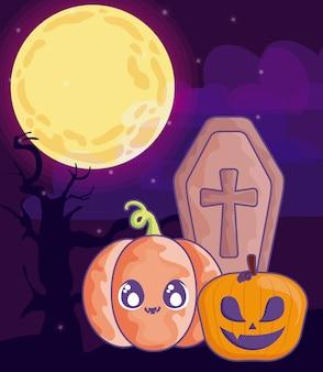 Bara di legno con croce cristiana sulla scena di halloween