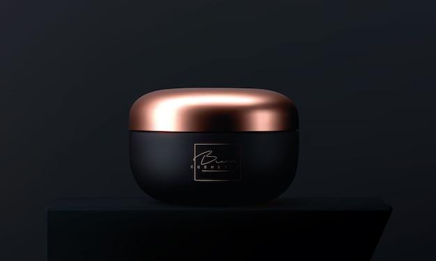 Barattolo cosmetico di lusso del crem del fronte per cura di pelle su fondo nero. bellissimo modello cosmetico per gli annunci. marchio di prodotti di bellezza. vaso cosmetico opaco nero e oro realistico 3d