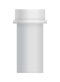 Barattolo di plastica bianco con tappo per pillola