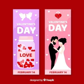 Barattolo e banner di san valentino di nozze