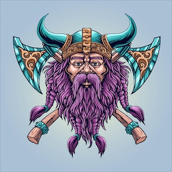 Barba fresca vichingo con l'ascia