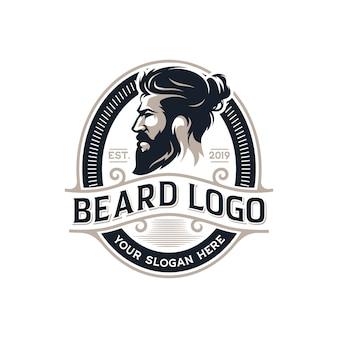 Barba uomo barbiere logo vettoriale illustrazione