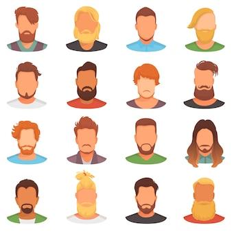 Barba vettore portraite di uomo barbuto con taglio di capelli maschile in bottega da barbiere e baffi spinati