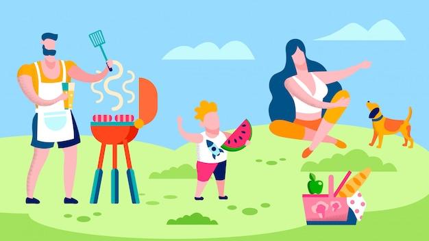 Barbecue della famiglia nell'illustrazione piana della campagna