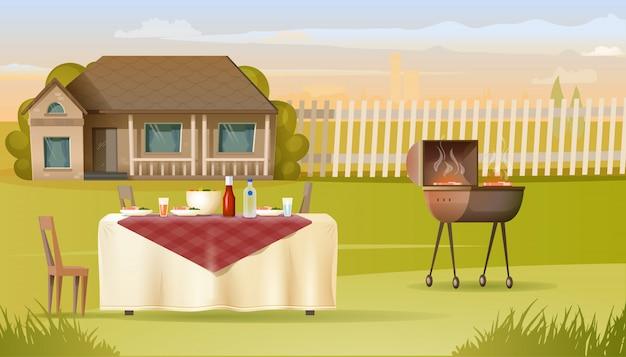 Barbecue della famiglia sul vettore dell'iarda della casa di campagna