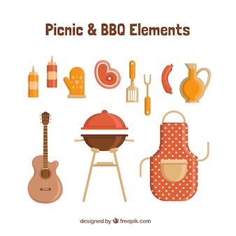 Barbecue equpment in design piatto