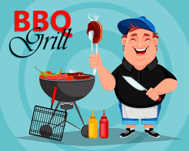 Barbecue. il giovane uomo allegro cucina la carne arrostita