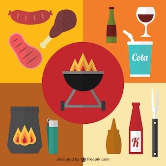 Barbecue picnic elementi grafici
