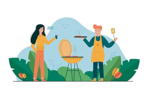 Barbecue, vacanze, estate, ricreazione, comunicazione, riposo, concetto di coppia