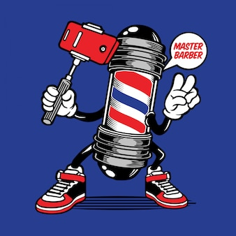 Barber pole selfie character design