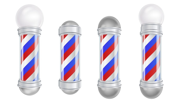 Barber shop pole vector. old fashioned vintage silver and glass barber shop pole. strisce rosse, blu, bianche. isolato