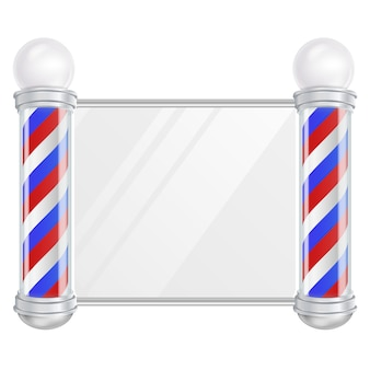 Barber shop pole vector. set di aste per barbiere classico. strisce rosse, blu, bianche. isolato sull'illustrazione bianca
