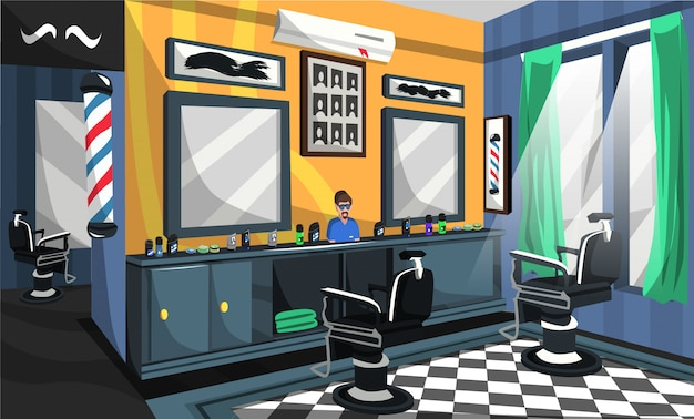 Barber shop room design interior