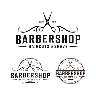 Barbershop semplice design logo minimalista con ornamenti eleganti