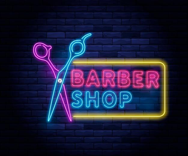 Barbiere al neon illuminato.