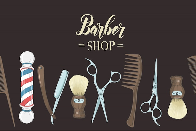 Barbiere con rasoio disegnato a mano, forbici, pennello da barba, pettine, negozio di barbiere classico palo su nero.