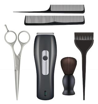 Barbiere realistico. barbiere strumenti parrucchiere bellezza moda salone strumenti pettine forbici lama illustrazioni