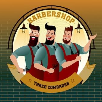 Barbiere tre compagni, illustrazione di vita di città hipster.