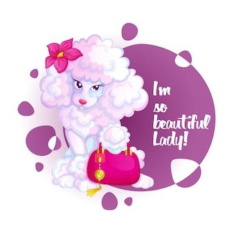 Barboncino carino con una borsa rosa e un fiore.