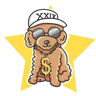 Barboncino sveglio hip-hop che indossa cappuccio bianco, vetri neri e illustrazione disegnata a mano del fumetto a catena del rapper.