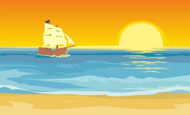 Barca a vela che galleggia sull'illustrazione del mare
