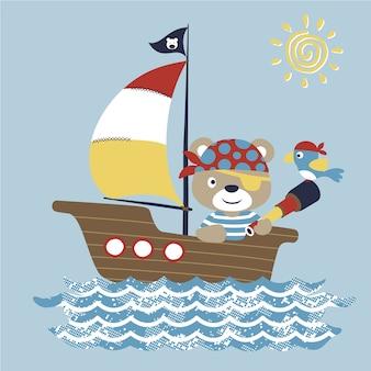 Barca a vela con simpatico pirata