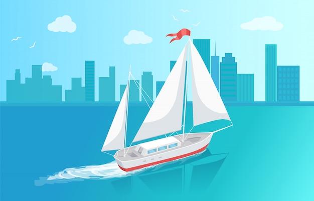 Barca a vela con tela bianca a vela in acque profonde
