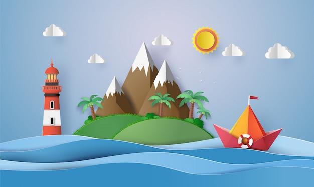 Barca a vela di carta colorata, taglio carta e origami.