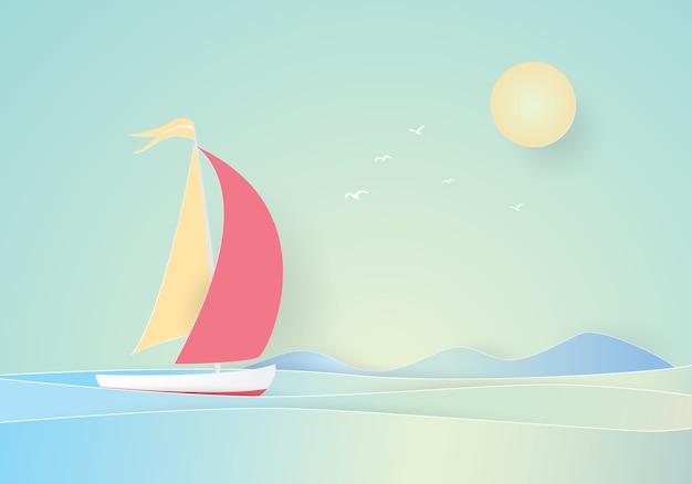 Barca a vela galleggiante nel mare, taglio carta