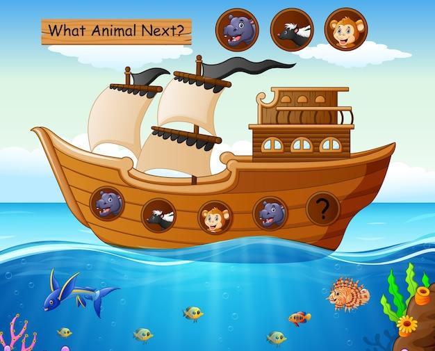 Barca a vela in legno con tema animali