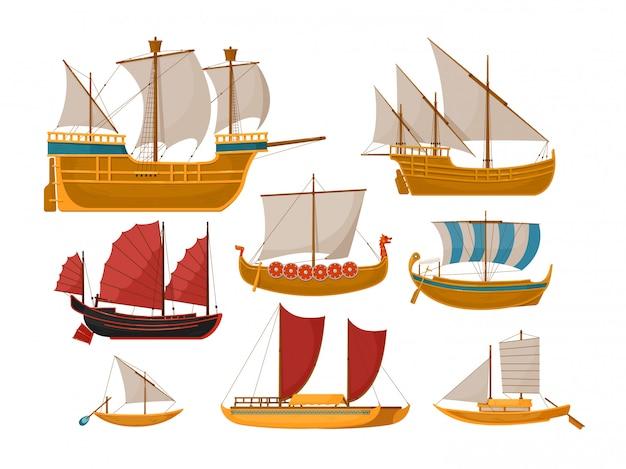Barca a vela. la barca a vela isolata ha messo con la vista laterale della nave del mare e della nave dell'oceano. barche a vela d'epoca in legno, galee, galeoni, golette a remi su backround bianco.