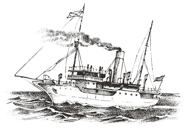 Barca a vela nel mare, avventura estiva, vacanza attiva. nave marittima, marina o nautica. trasporto marittimo nell'oceano per marinaio e capitano. incisi disegnati a mano in stile vintage.