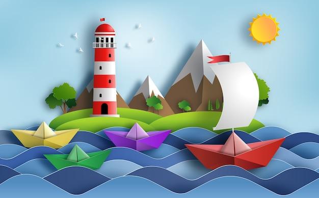 Barca a vela origami nell'oceano, concetto di leadership.