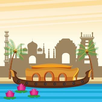 Barca dell'india nel fumetto di paesaggio del fiume