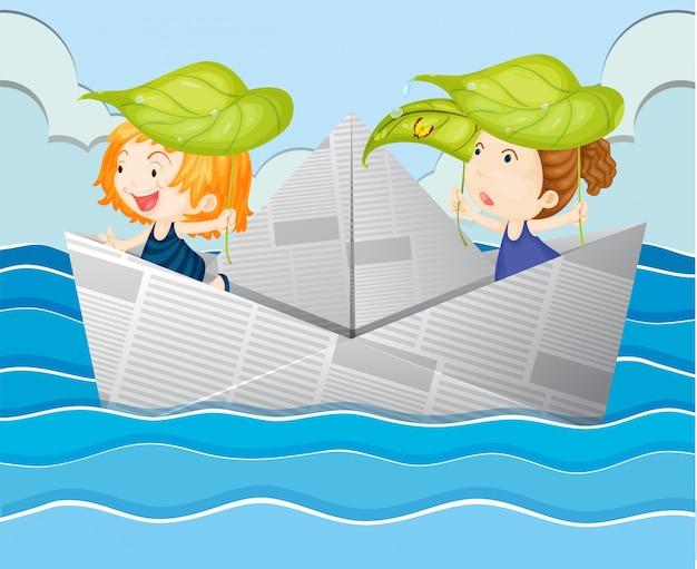 Barca di carta con due ragazze