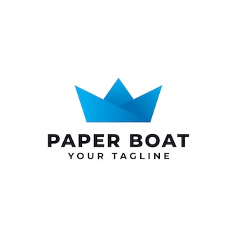 Barca di carta, nave origami logo design