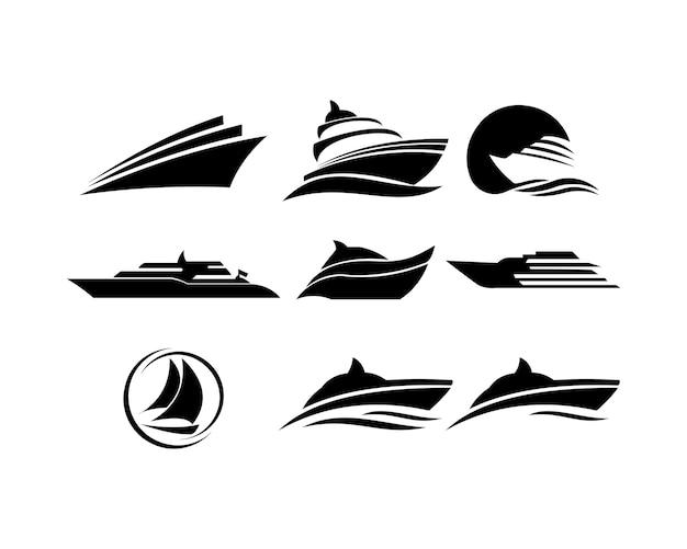Barca nave mare vela vector logo